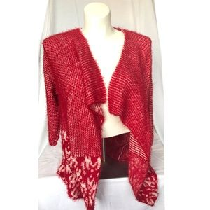Red and White Fuzzy Waterfall Long Sleeves Sweater